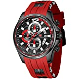 Mens Watch Waterproof Sport Casual Watch for Men Multifunction Chronograph Fashion Quartz Wristwatches Calendar with Silicon