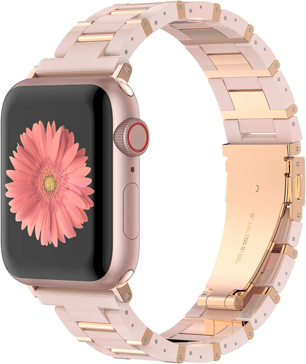 Wearlizer Stainless Steel & Resin Compatible with Apple Watch Band 40mm 38mm for iWatch SE Light Womens Mens Metal Bar Block Unique Wristband for Series 6 5 4 3 2 1-Deep Rose Gold+Pink