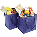 ATBAY Insulated Grocery Tote Bag Large Reusable Shopping Bags with Zippered Top and Outside Pocket,Navy blue (2 Pack)