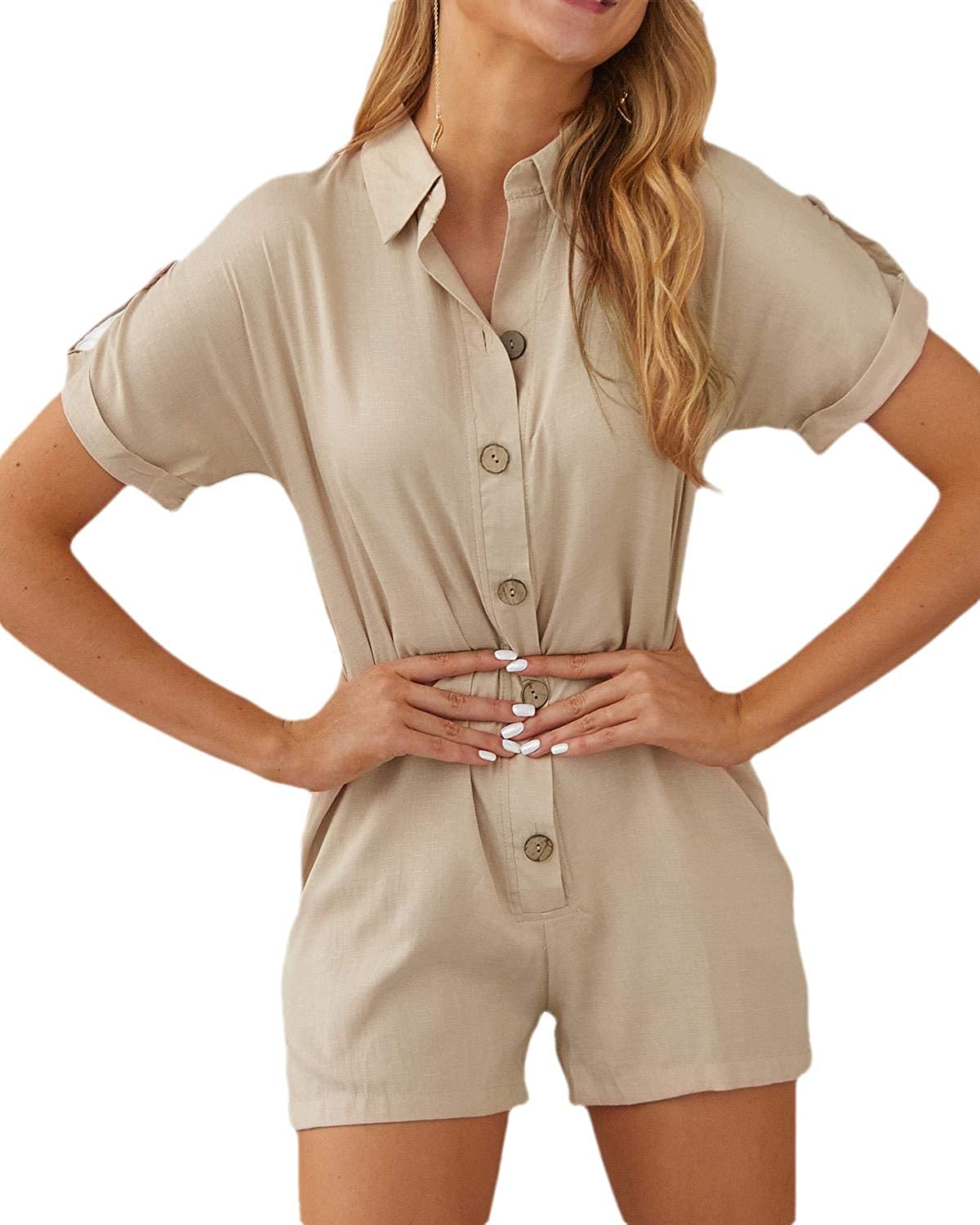 Zantt Women Casual V Neck Short Sleeve Button Up Romper Jumpsuits with Pockets