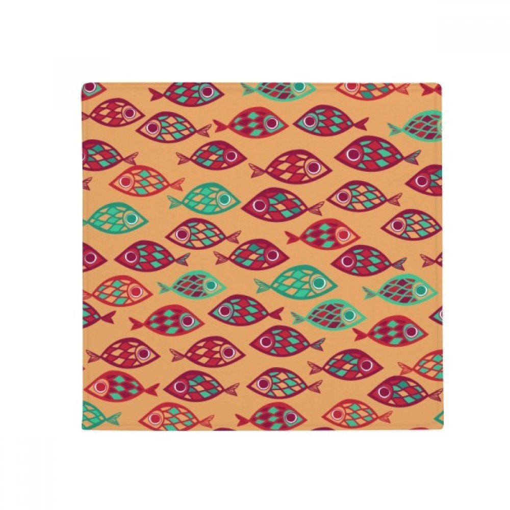DIYthinker Warm color Grids Abstract Fishes Anti-Slip Floor Pet Mat Square Home Kitchen Door 80Cm Gift