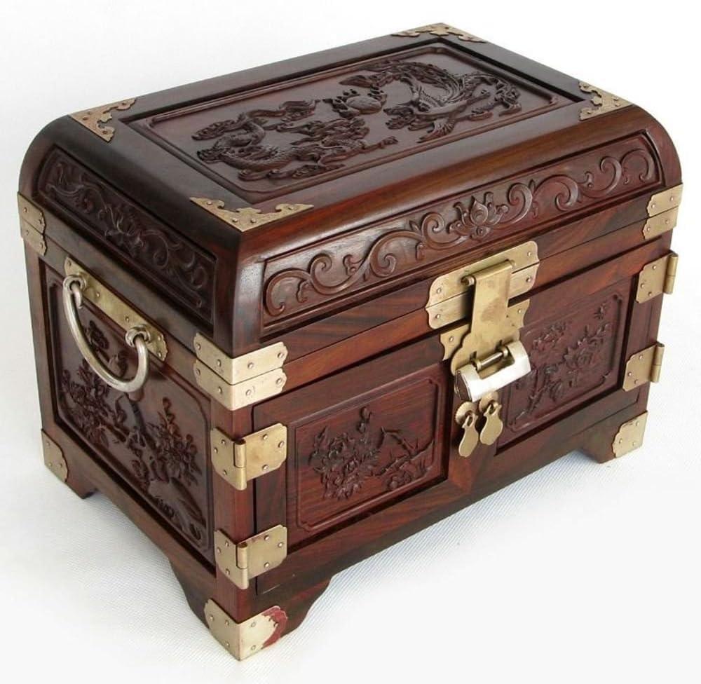 MYITIAN Laos Palisandro Rojo Caoba joyero Chino sólido Madera Vintage Alhajero Caja de almacenaje de Ornamento Regalo de Boda