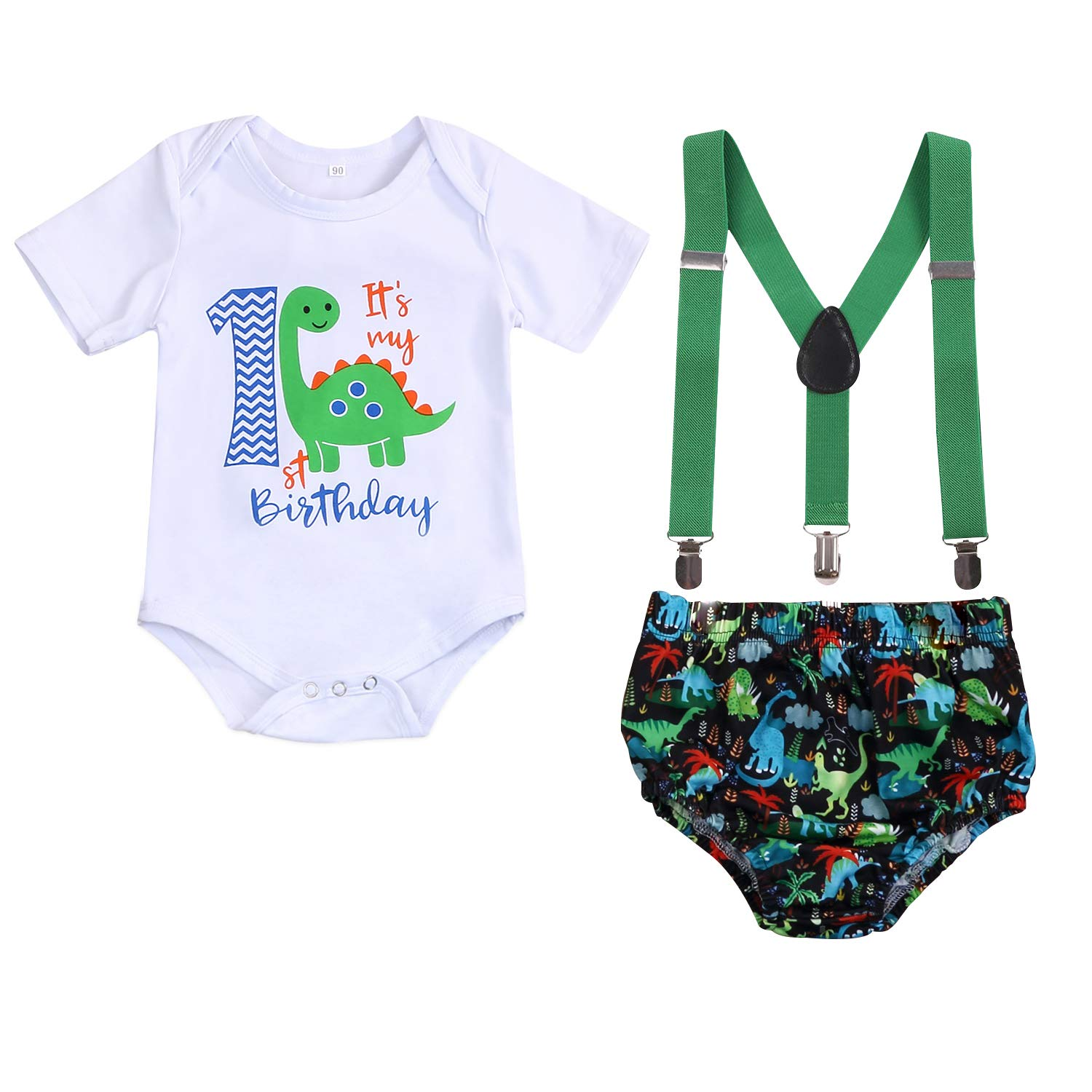 Baby Boys Adjustable Suspenders First Birthday Cake Smash Outfit Bloomers Clothes set