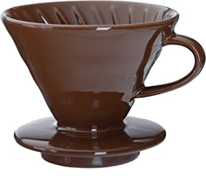 Kajava Mama Pour Over Coffee Dripper - Ceramic Slow Brewing Accessories for Home, Cafe, Restaurants - Easy Manual Brew Maker Gift - Strong Flavor Brewer - V01 Paper Cone Filters - Brown, 1 Cup