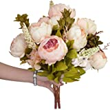 Nobel Vintage Artificial Peony, SUMERSHA Silk Flowers Bouquet Home Wedding Decoration Dining-table Hotel party Wedding DIY Craft fake flores marriage decoration