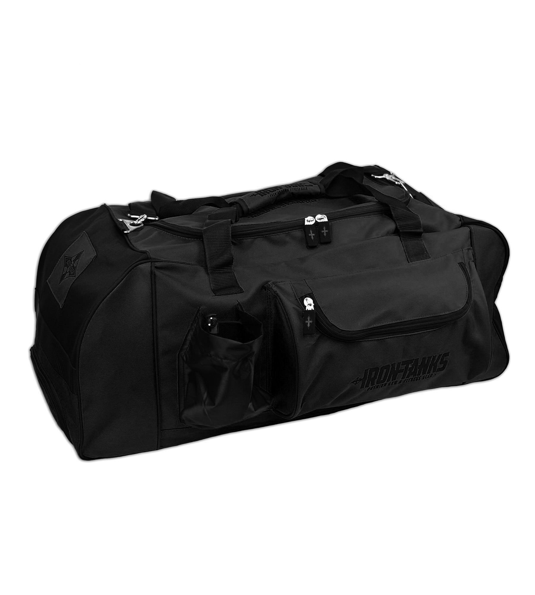 Iron Tanks Raven Black Gym Bag - Powerlifting Bodybuilding Heavy Duty Duffel