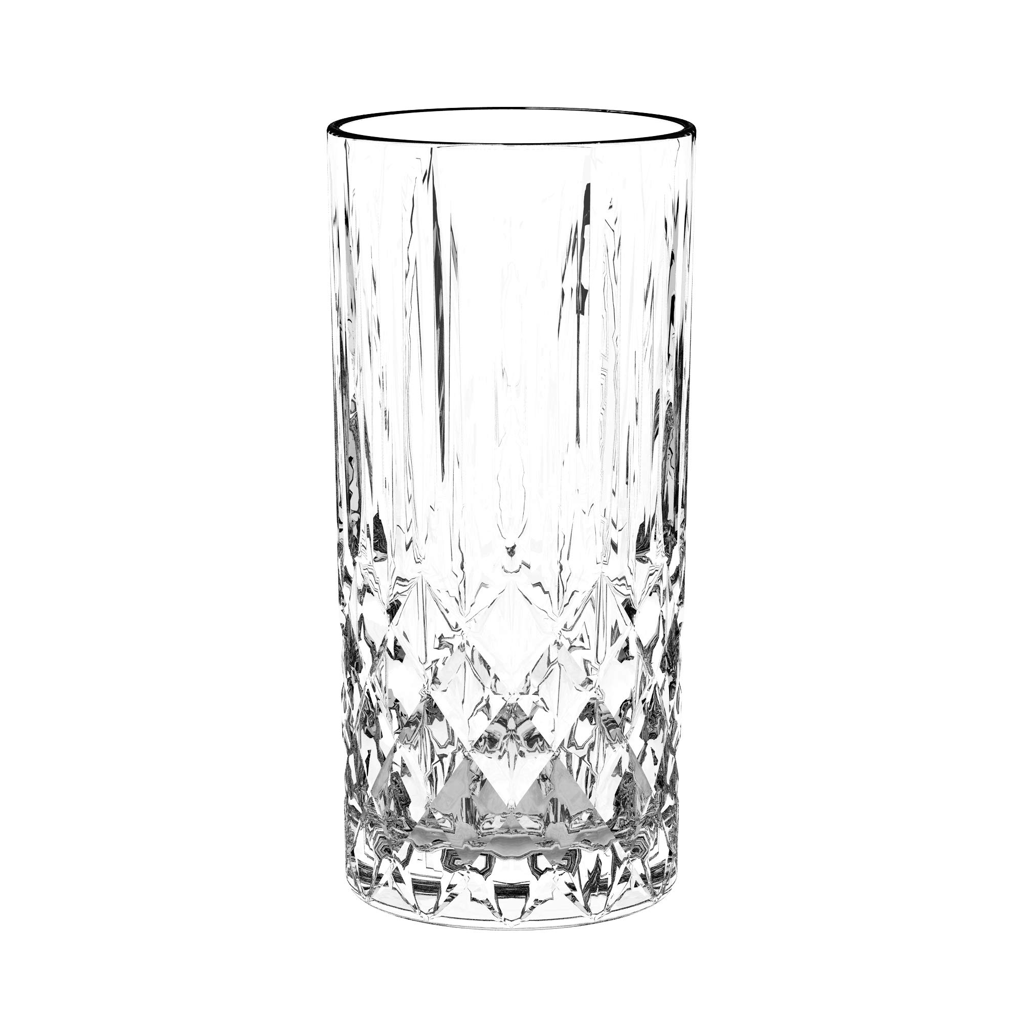 Highball - Glass - Set of 6 Hiball Glasses - Lead Free Crystal - Beautiful Designed Drinking Tumblers for Water, Juice, Wine, Beer, and Cocktails - Tumbler is 13 oz. - Made in Europe