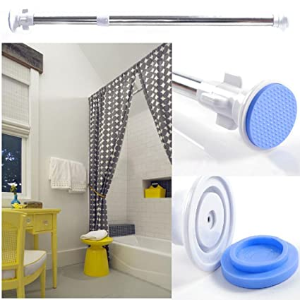 NEW Telescopic Shower Curtain Rail Extendable Heavy Duty Steel Pole Rod  (blue)