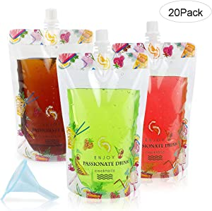 GENNISSY 20PCS Travel Plastic Flask Cruise Kit - Premium Sneak Alcohol Runner Concealable Flasks to Smuggle Liquor Rum Cocktails Spirits Wine Booze Gift (20 x12OZ)