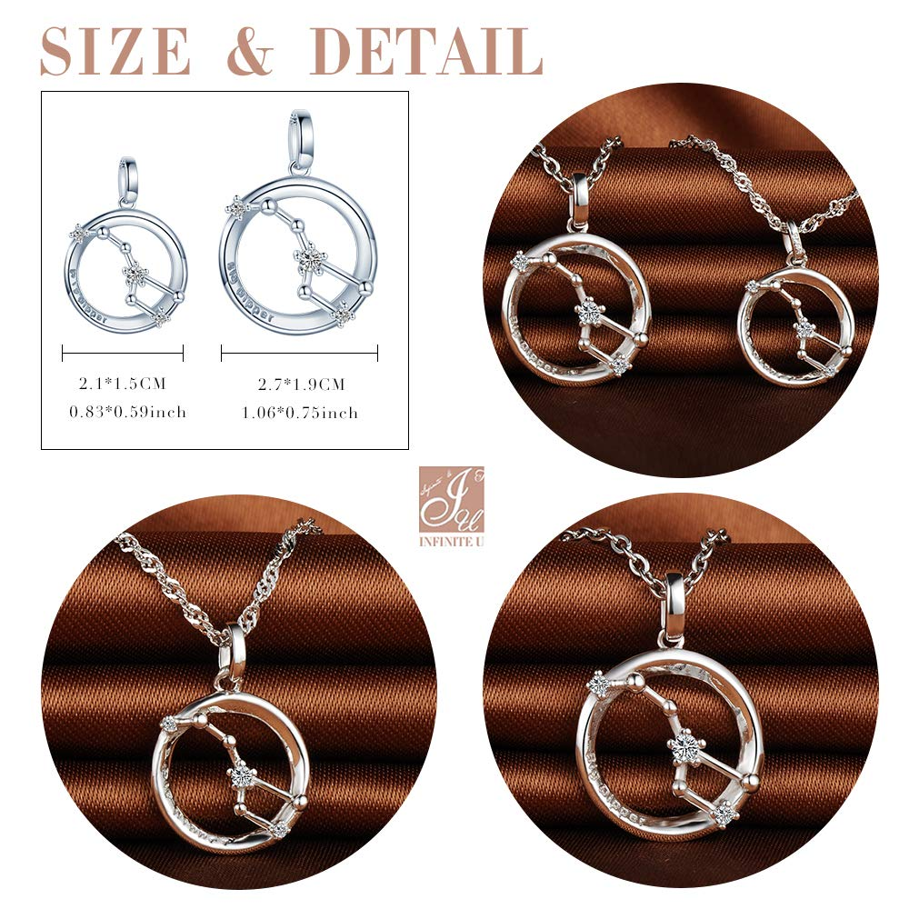 Infinite U Simple Popular Big Dipper Necklace 925 Sterling Silver Lovely Dipper Pendant Couples Necklaces Jewelry Set