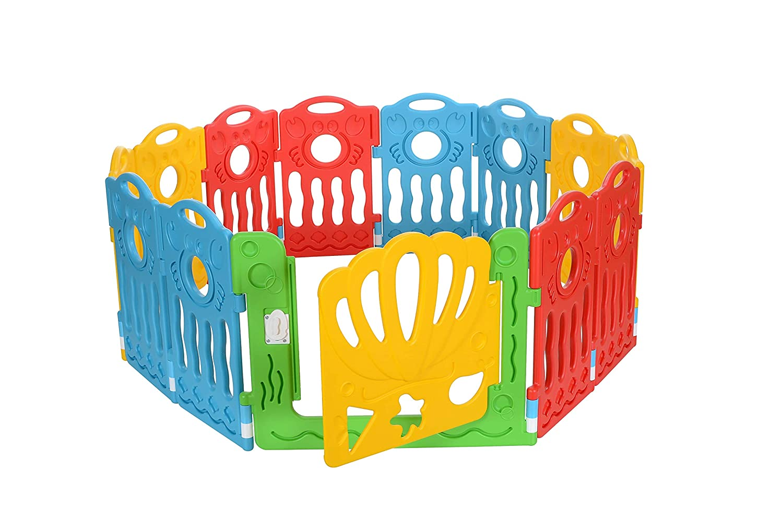 Rot Gelb Blau LCP Kids Boxi Laufgitter Baby Laufstall 12 Teilig Erweiterbar