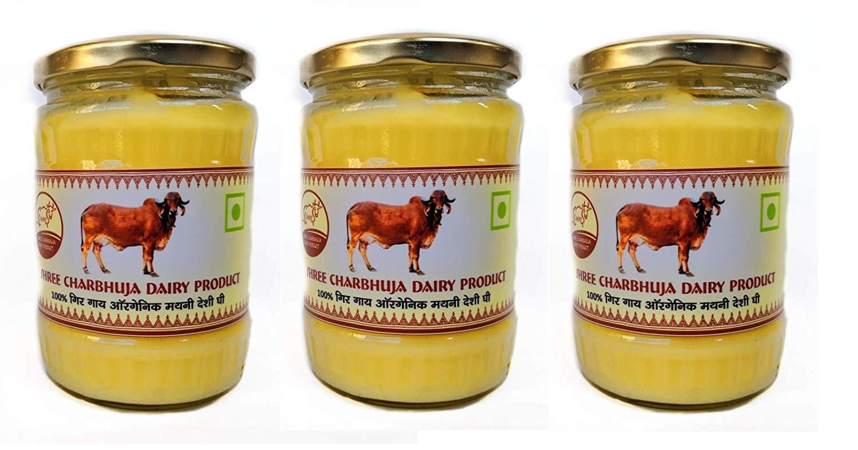 Organic A2 Indian Gir Breed Cow 's Vedic Bilona Ghee Pack of 3 , Each 500 ml (16.91 OZ) By Shree Charbhuja
