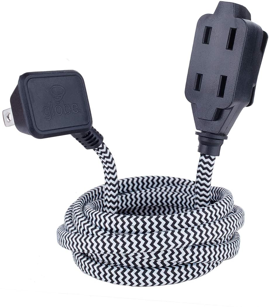 Globe Electric Designer Series 9-ft Fabric Extension Cord, 3 Polarized Outlets, Right Angle Plug, 125 Volts, Black and White 22888