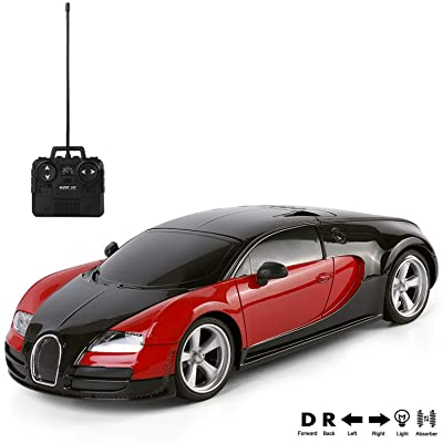 Radio Remote Control Exotic Veyron Model 1/18 Scale 27MHz Two Tone Black and Red R/C Toy Car with Working Headlights for Kids Boys Girls: Toys & Games