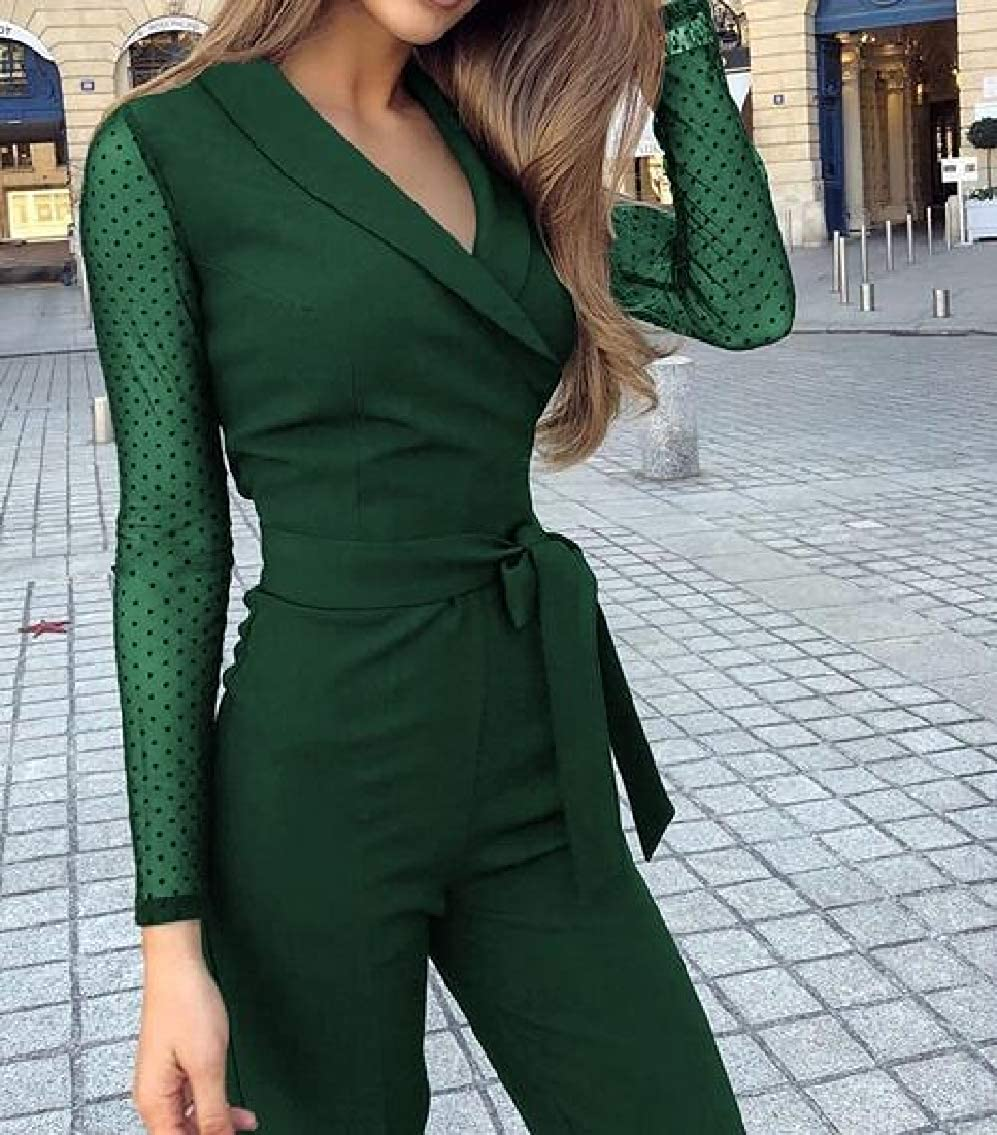 Wopop Women Slim V-Neck Transparent Long Sleeve Belt Patch Jumpsuits