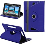 "Generic 360° Rotating 8"" Inch Tablet Leather Flip Case Cover Book Cover With Stand For IBall Slide Co-Mate -Blue"