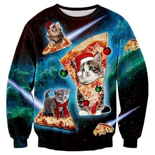 RAISEVERN Christmas Sudaderas sin Capucha Jumpers, Sudaderas Divertidas para Hombre para Mujer Unisex Ugly Sweater