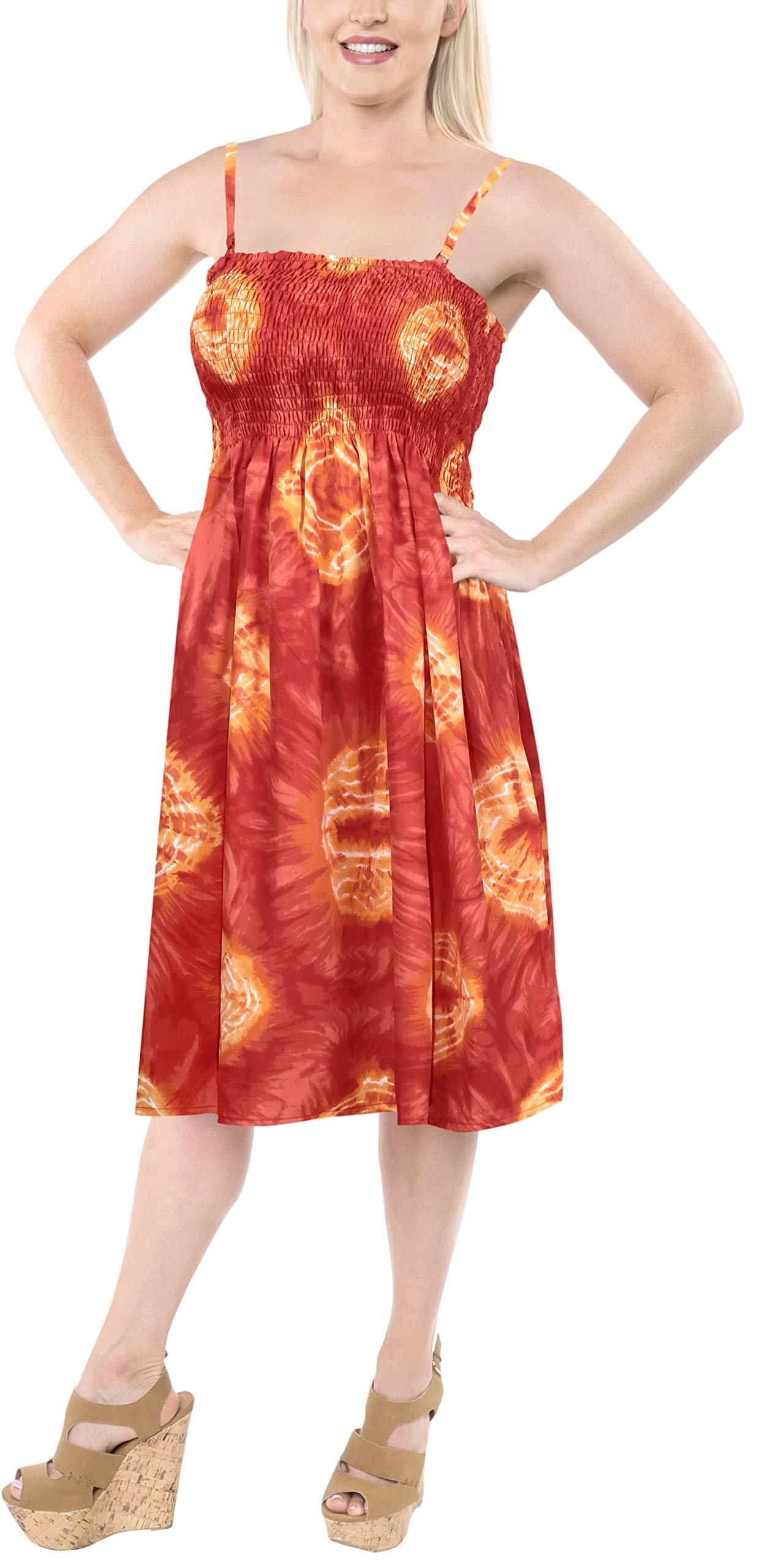 LA LEELA Soft  Printed Casual Swimwear Stretchy Tube Dress Orange 1098 One Size