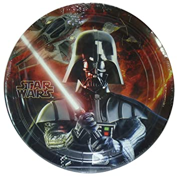 Star Wars - Platos decorados (8 unidades, 23 cm de diámetro, para fiestas), diseño de Star Wars: Amazon.es: Hogar