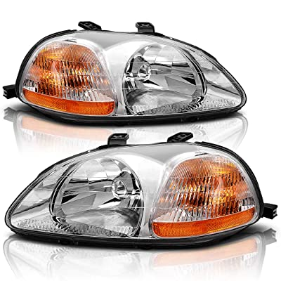 AUTOSAVER88 Headlight Assembly Compatible with 1996 1997 1998 Honda Civic 33151-S01-305 33101-S01-305: Automotive