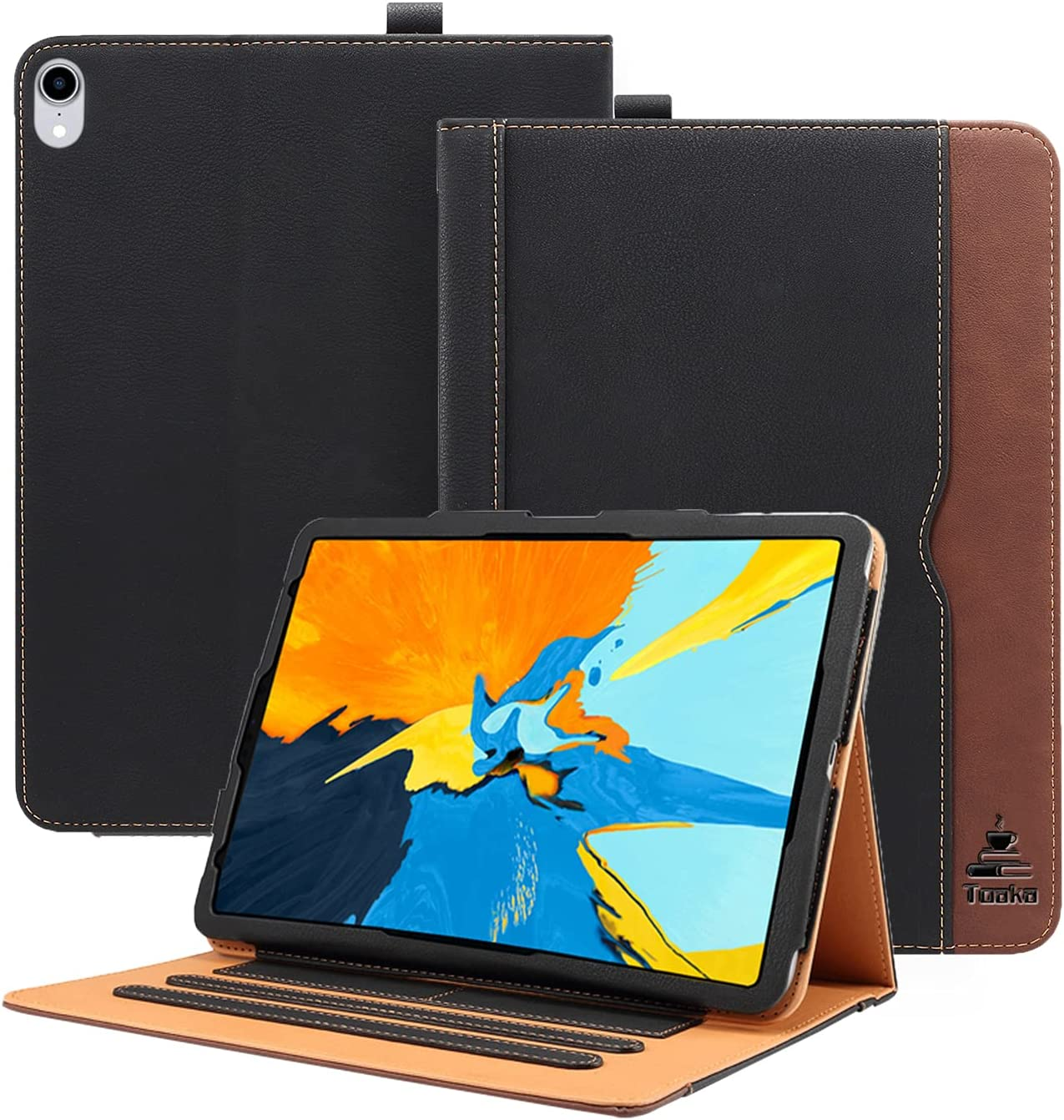 TOAKA iPad Air 4 Case - Apple iPad Air 4th Generation 10.9 Inch 2020 Soft Leather Stand Folio Case Smart Cover, Auto Sleep/Wake, Document Pockets & Card Holders, Multiple Viewing Angles (Black&Brown)