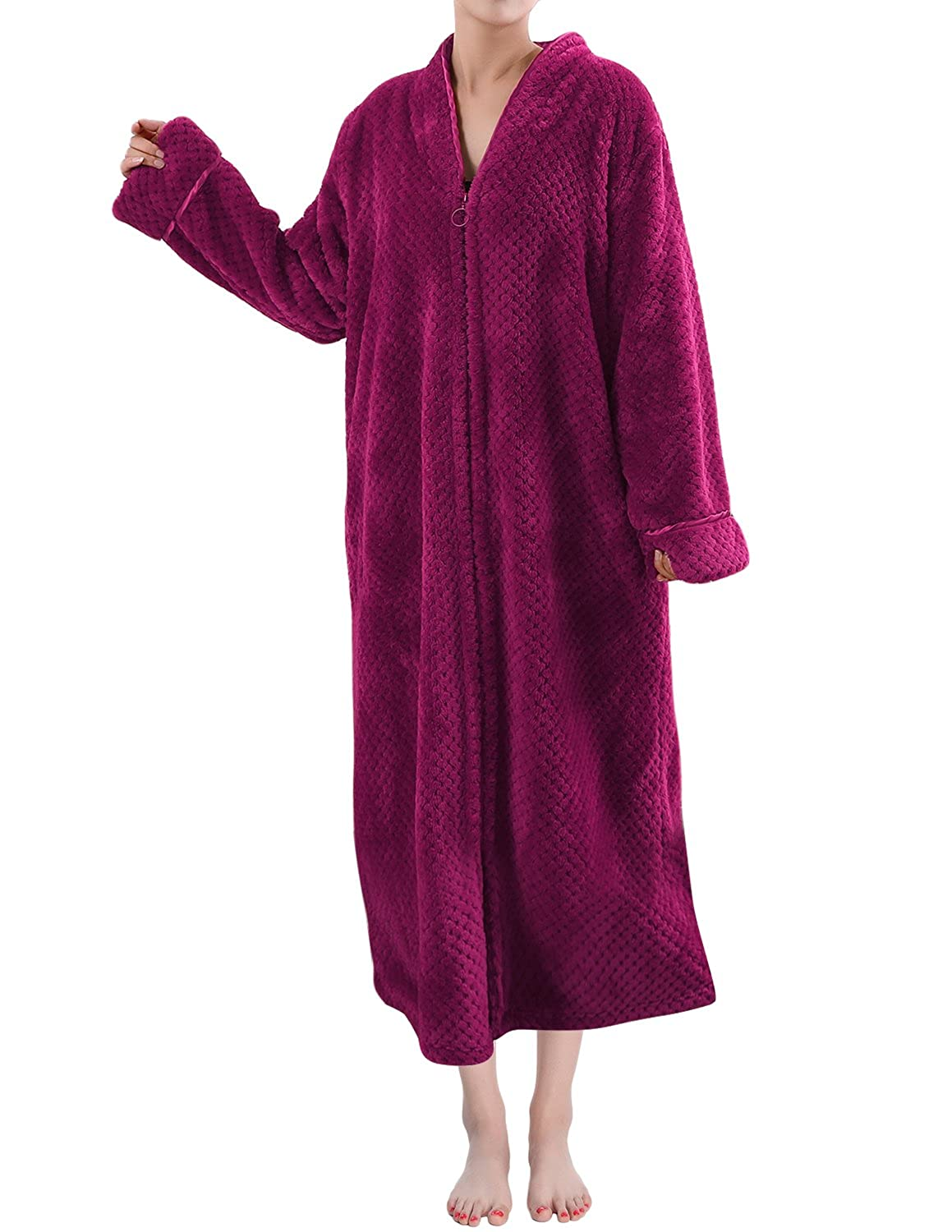 Sue&Joe Women's Full Zip Dressing Gown Shawl Collar Calf Length Fleece Housecoat
