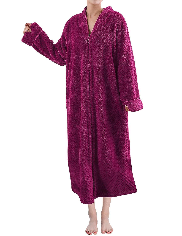 Sue&Joe Women's Full Zip Dressing Gown Shawl Collar Calf Length Fleece Housecoat