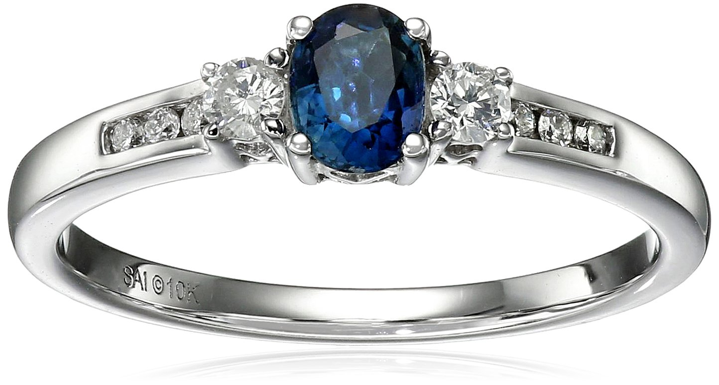 10k White Gold Sapphire and Diamond Ring, Size 7 (1/10cttw, I-J Color, I2-I3 Clarity)