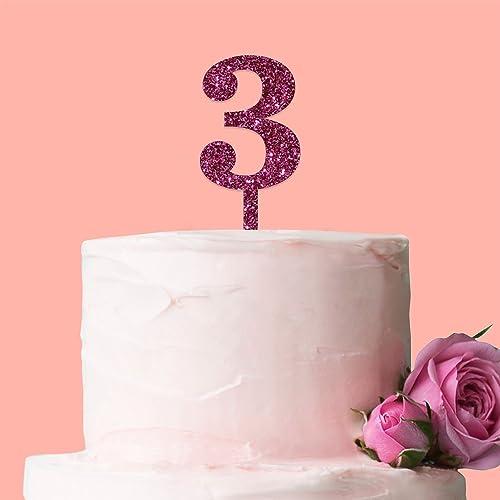 Fancy Pants Store Laser Cut Number Cake Topper Glitter Pink 3