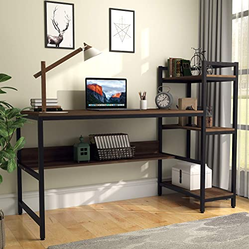 Computer Desk with 4 Tier Storage Shelves – 41.7 Student Study Table with Bookshelf Modern P2 Wood Desk with Steel Frame for Small Spaces Home Office Workstation Walnut