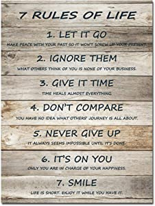 7 Rules of Life Motivational Wall Art Inspirational Quotes Canvas Prints Ready to Hang for Home Office Decor 12x16 Inch