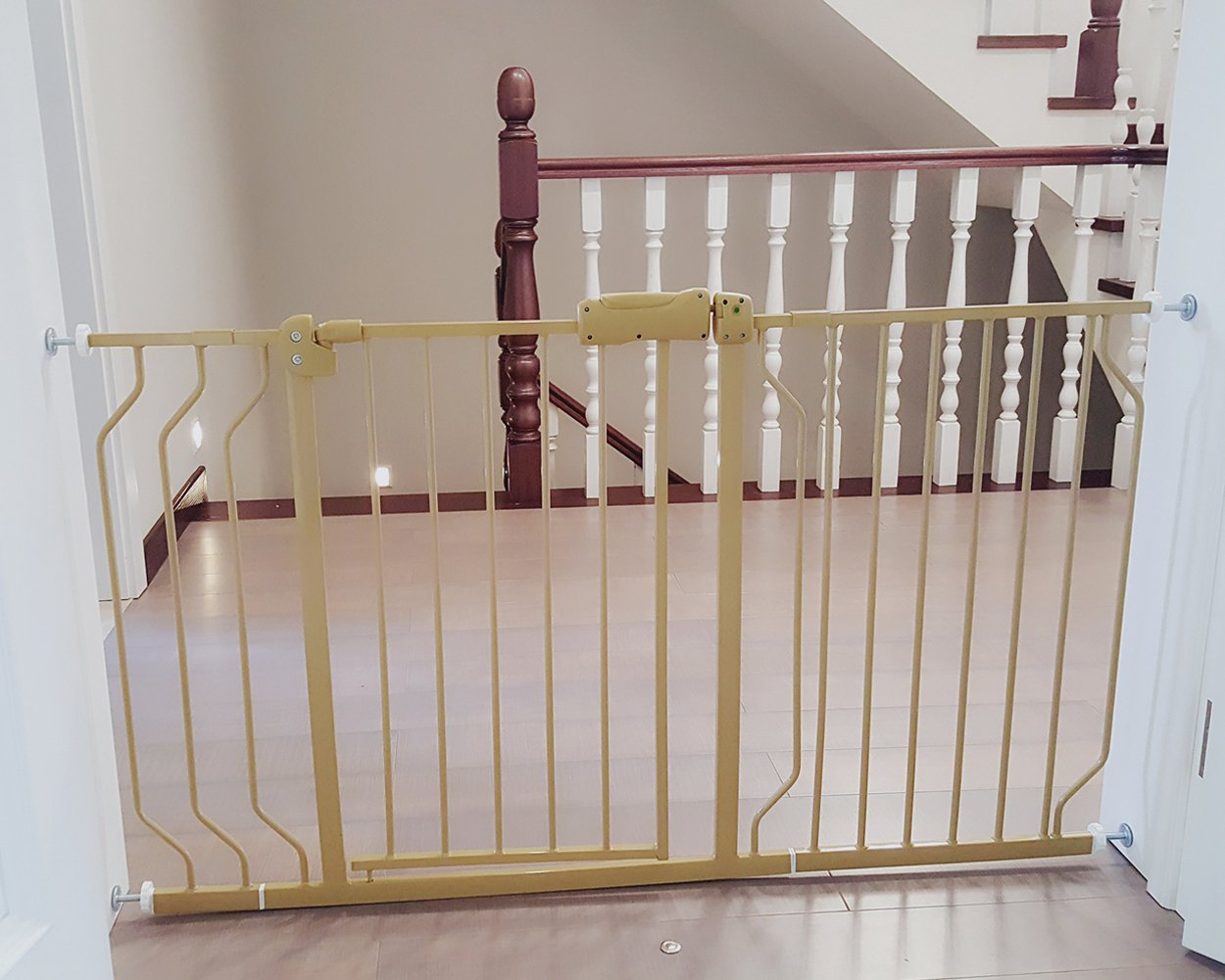 Fairy Baby Safety Metal Walk-Thru Gate,Fits Spaces between 52.8'' and 57.5'' Wide,Champagne