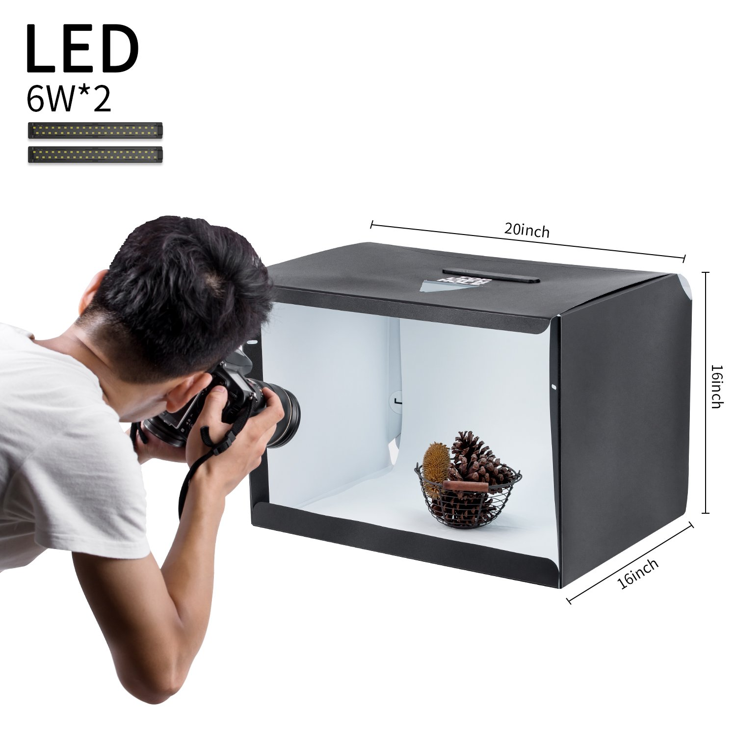 Slowbeat Portable Photo Studio 20''x16''x16'' Shooting Tent Box Kit with Adjustable LED Lights for Product Photography Box, Product Review at home and office by Slowbeat