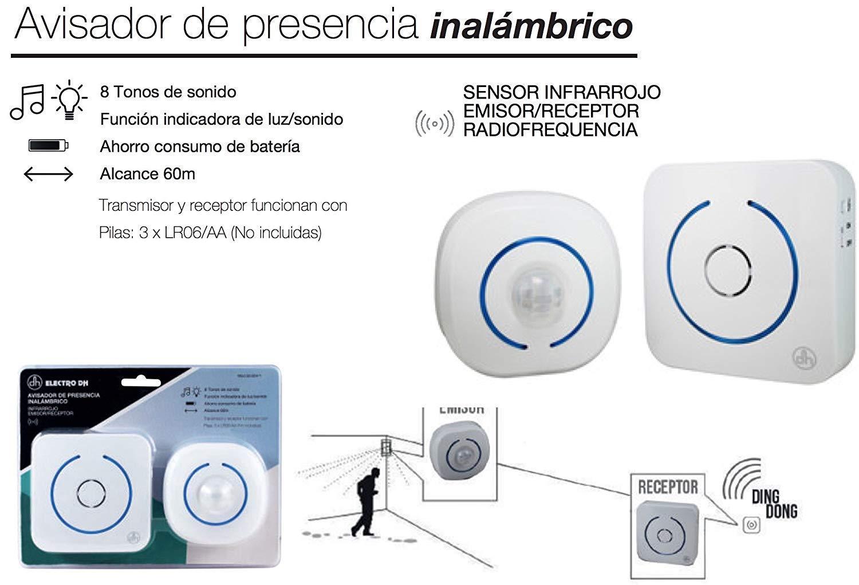 Avisador de presencia acústico y luminoso (inalámbrico IR 60m): Amazon.es: Bricolaje y herramientas