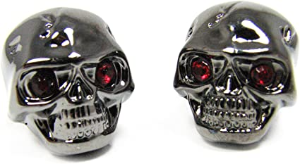 BRONZE w// GREEN Eye Guitar Parts SKULL KNOBS Set of 2