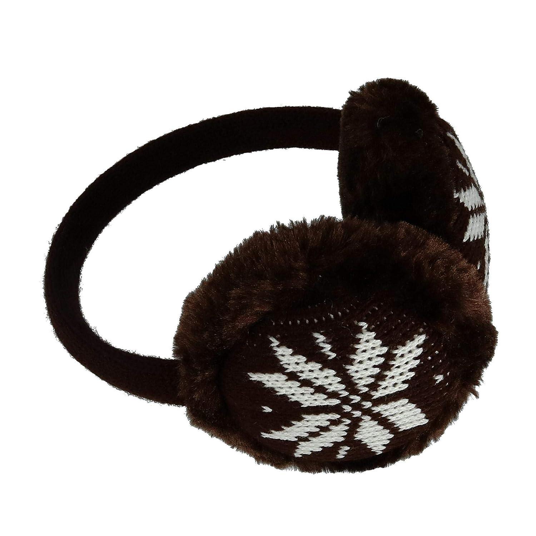 CTM® Women's Snowflake Earmuffs, Brown SE-EM1200-BRN