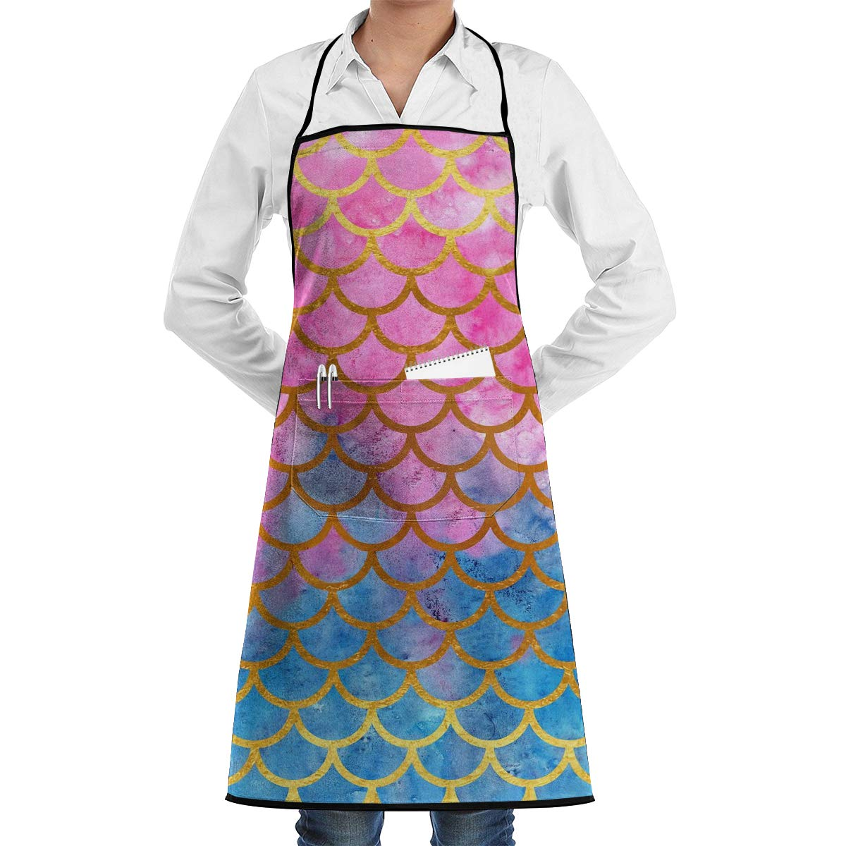 NiYoung Professional Kitchen Apron- Mermaid Watercolor Gold Pink Fish Scales -Woman Aprons Comfortable Perfect for Cooking Guide by NiYoung