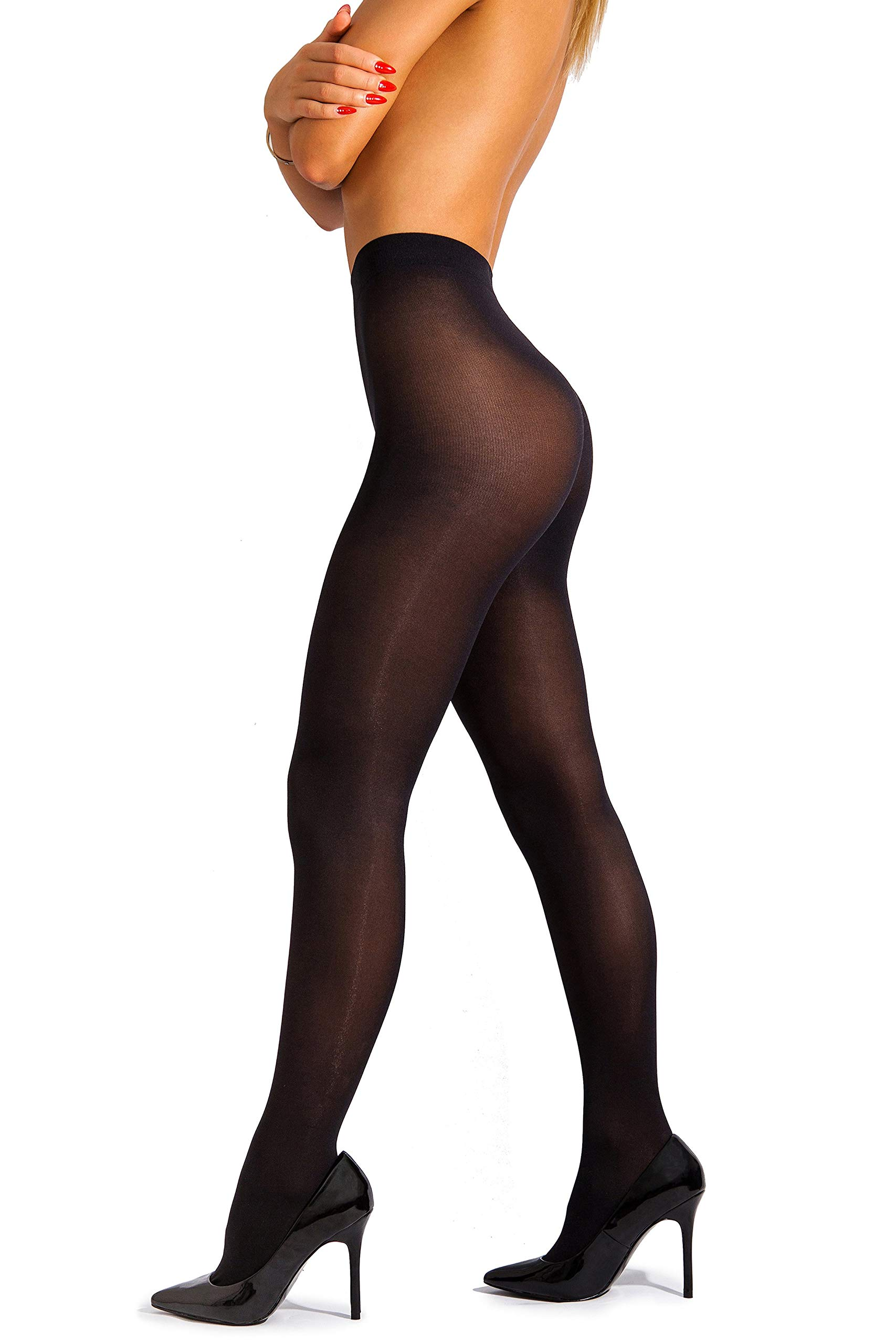 sofsy Opaque Microfibre Tights Invisibly Reinforced Opaque Brief Pantyhose 40Den [Made In Italy] Black 4 - Large