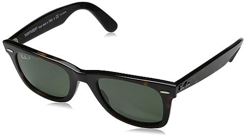 Ray-Ban RB2140 Original Wayfarer Sunglasses, Tortoise/Polarized Green, 50 mm