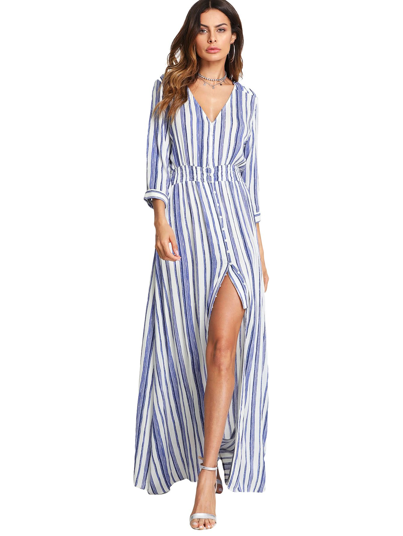 Milumia Stripe Dress, Women Smocked Waist 3 4 Sleeves Button up Summer Chic Blue and White S