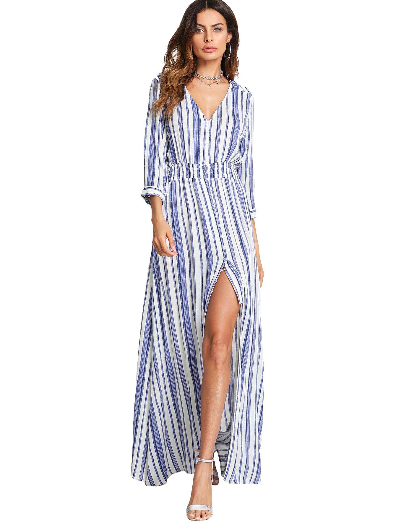 Milumia High Split Dress Women, Quarter Sleeves Lightweight Stripe Stylish Blue White L