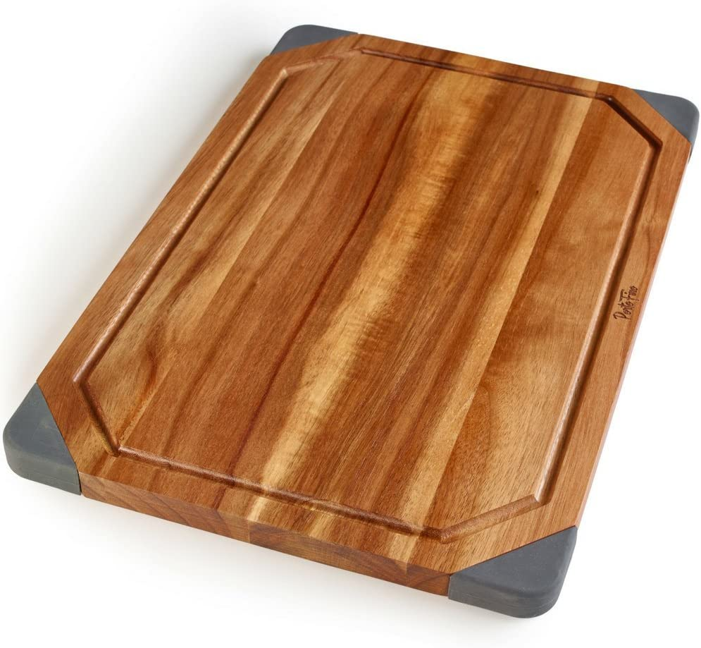 PortoFino Acacia Wood Cutting Board / 2-in-1 Reversible Serving Board / Cheese Board / Anti-Slip Non-Marking Silicone Corners / 15.75 L x 10.5 W x 0.75 H (inches)