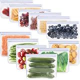 GLAMFIELDS Reusable Food Storage Bags - 12 Pack Leakproof Freezer Ziplock Bags(6 Reusable Sandwich Bags & 6 Reusable…