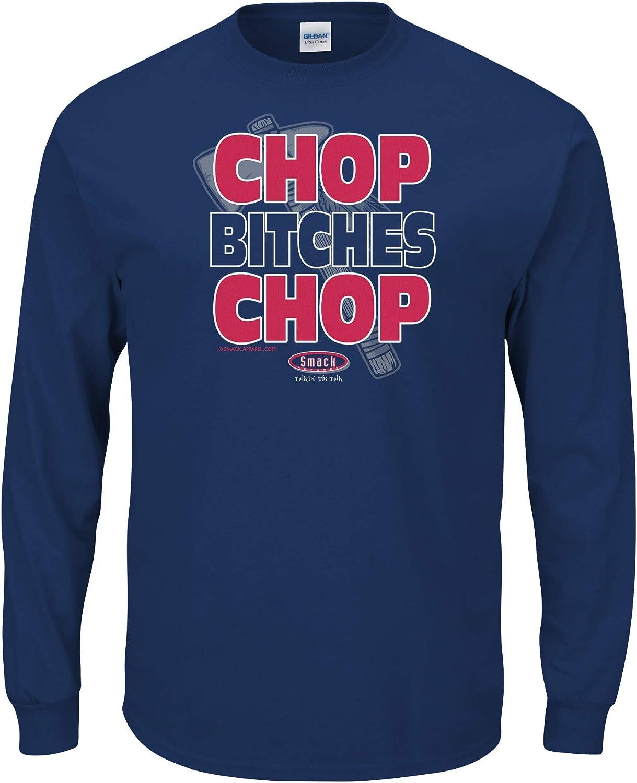 Sm-5X Chop B!tches Chop Navy T-Shirt Smack Apparel Atlanta Baseball Fans