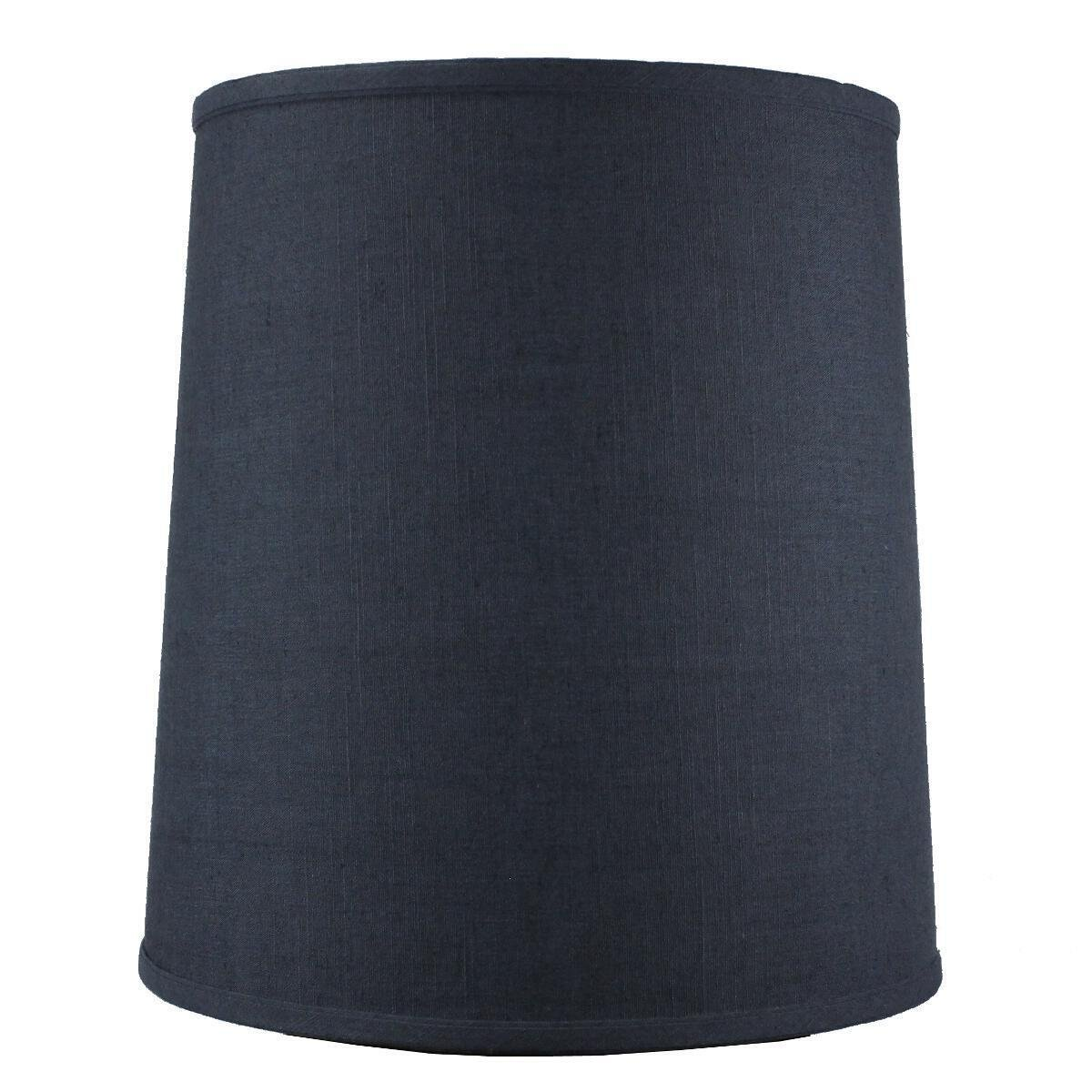12x14x15 Textured Slate Blue Medium Drum Cylinder Lampshade with Brass Spider fitter By Home Concept - Perfect for table and Desk lamps - Medium, Blue