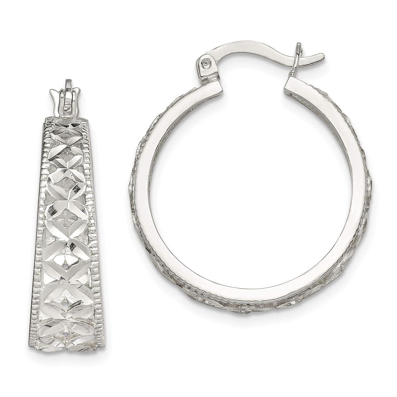 925 Sterling Silver Polished /& Textured X Hoop Earrings
