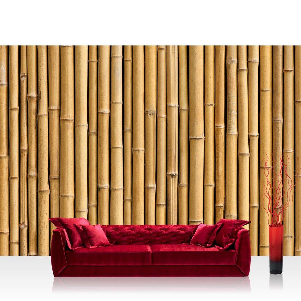 Vlies Fototapete 400x280 cm PREMIUM PLUS Wand Foto Tapete Wand Bild Vliestapete - GOLDEN BAMBOO - Bambuswald Bambus Wald Asien Asia Baum Bamboo Way Bambusweg Holzoptik - no. 083