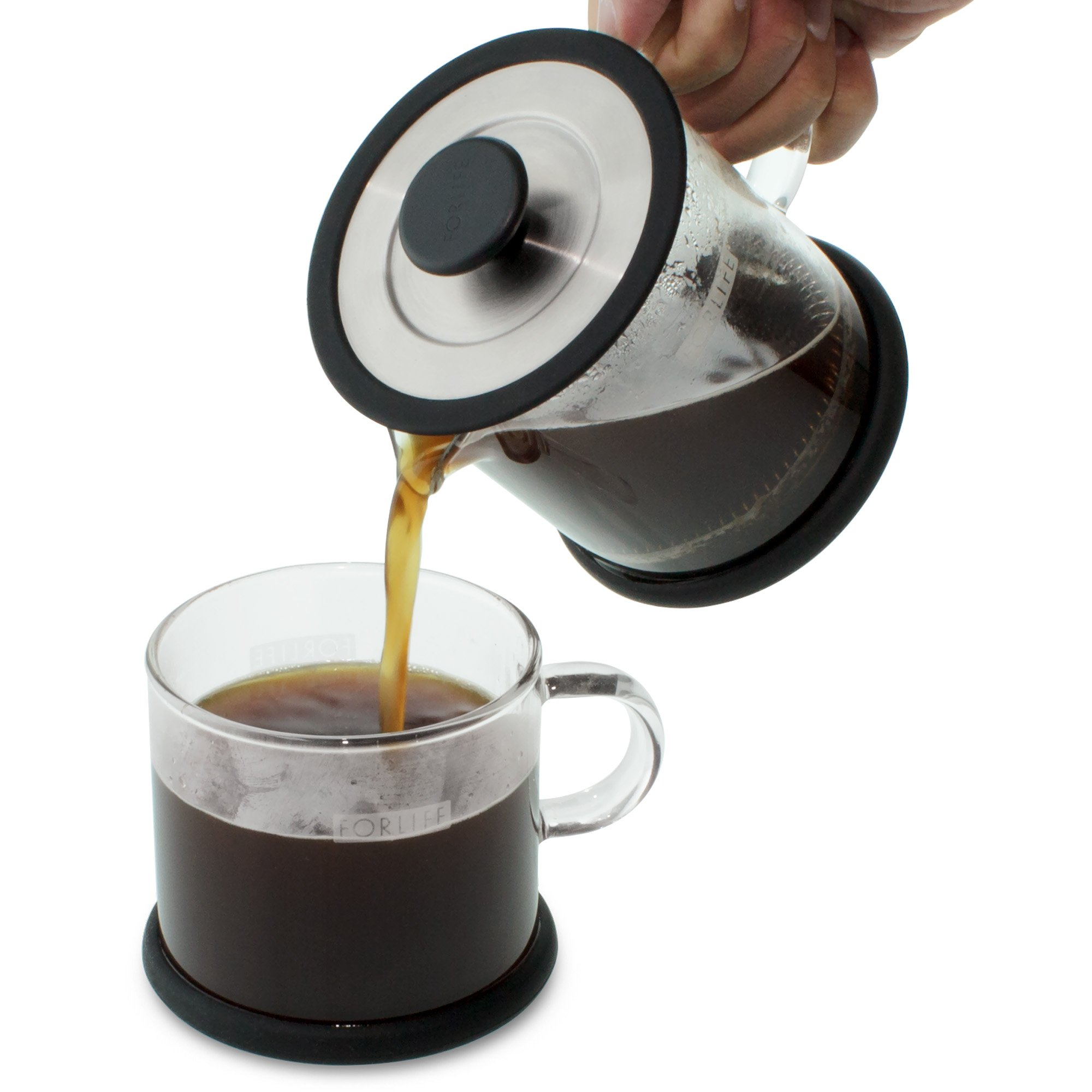 FORLIFE Cafe Style Glass Coffee/Tea Press, 16-Ounce, Black by FORLIFE (Image #5)