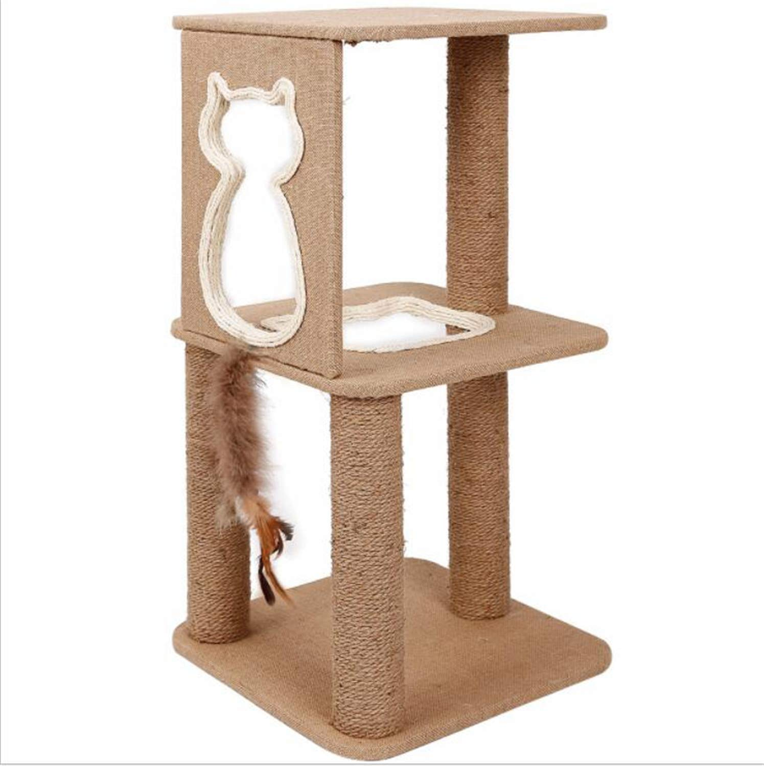 A MR.MO Cat Climbing Frame,Simple Cat Furniture Sleep And Play Sisal Grab Board Nest Double Layer Solid Wood Grinding Paw,funny Toy