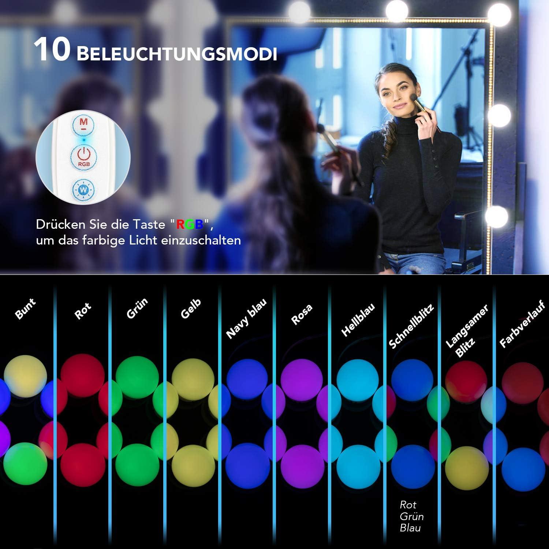 ILEBYGO LED Spiegelleuchte Hollywood Stil Schminktisch Beleuchtung f/ür Make-up Wei/ßes Licht Schminktisch Lichter f/ür Kosmetikspiegel Farbiges Licht Lampen Spiegel f/ür Led Spiegel 14 LED Lampen